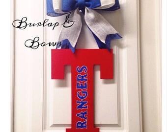 Texas Rangers Initial, hanging door decor