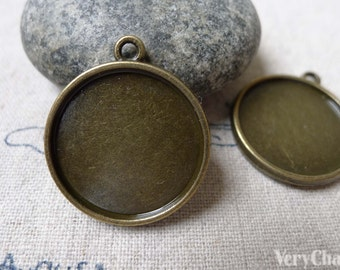 10 pcs of Antique Bronze Round  Base Settings Pendant Double Sided Match 20mm Cabochon A6870