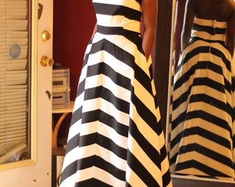 Black and white (also Blue) Striped Dress, Long dress, strapless with two deep side pockets,corset back,Custom made for your measurements.