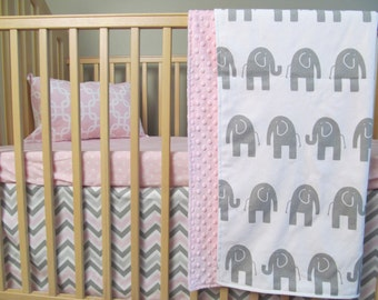 Baby Girl 3 Piece Baby Bedding Set Pink Grey Elephants