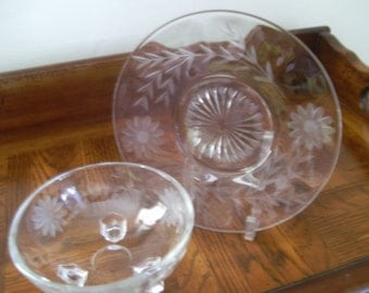 Plate and Condiment Bowl  Pretty Etched Floral Pattern