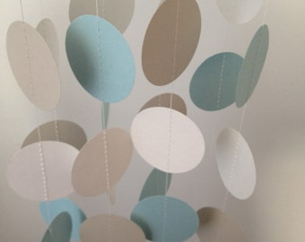 Light Blue, Light Gray, White 12 ft Circle Paper Garland- Party Decorations, Birthday, Wedding, Bridal Shower, Baby Shower