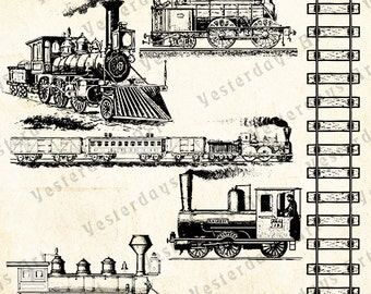Vintage Trains #3 Antique Digital Images. Printable Graphic Clip Art Illustrations Instant Download Artwork for all your Projects.