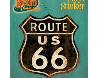 Route 66 Shield Distressed Vinyl Sticker #40887