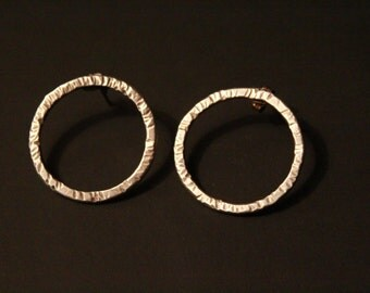 Sterling Circle Post Earrings, Made to Order