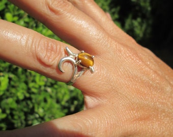 Art Deco Tiger Eye Sterling Ring Size 6
