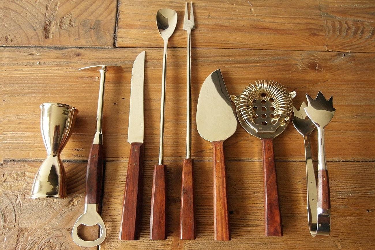 bar set bar tools cocktail set vintage s  strainer jigger - 🔎zoom item details shipping  policies vintage bar set  bar tools