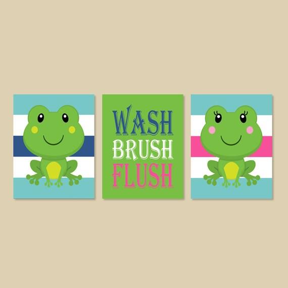 Frog bathroom decor boy girl bathroom wash by for Frog bathroom ideas