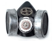 Double Respirator Steampunk Gas Mask w/ Gears and Webbing in Silver and Black