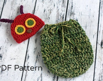 Very Hungry Caterpillar Hat Pattern - Crochet - Newborn