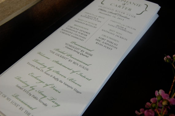 Classic Wedding Programs White Card Stock Programs Program