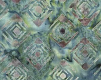 Galaxy Fabrics, Java Batiks (0223), Quilt Fabric, Green, Blue, Geometric, Squares, Modern