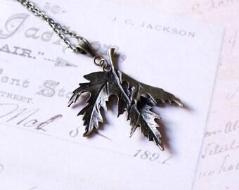 Maple Leaf Necklace, Statement Necklace, Bronze Leaf Necklace, Antiqued Brass Pendant, Metal Pendant, Bronze Color Pendant, Large Pendant