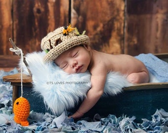 crochet baby boy hat, fisherman/angler hat with little orange fish  and octopus photo prop