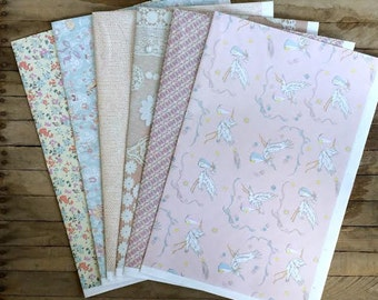 Vintage Style Paper Pack / Gift Wrapping Paper -- 6 Double Sided Sheets in Baby, Floral & Pastel Themes