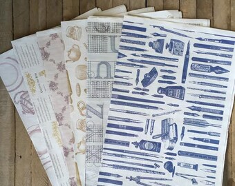 Vintage Look Paper Set, Gift Wrap, Home Decor, Craft Supply