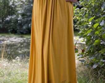 High Waisted Maxi Jersey Skirt in Mustard, Plus Size, XL XXL, High Quality Modest Clothing Now on Clearance