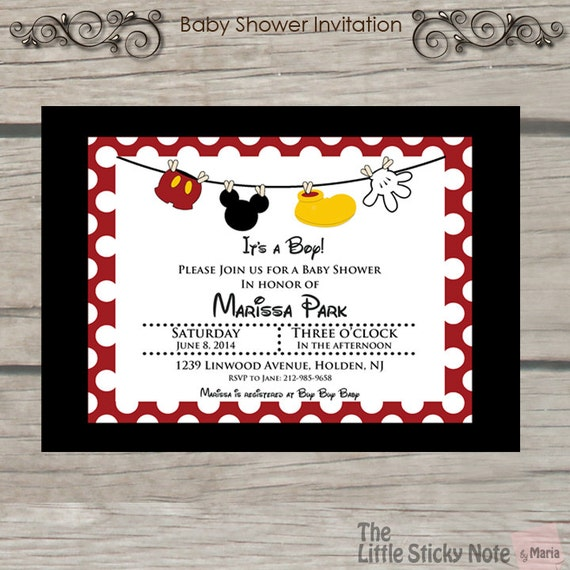 Adaptable image within mickey mouse baby shower invitations printable