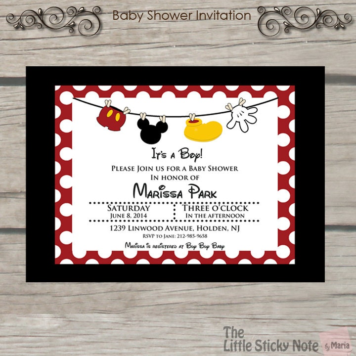 mickey mouse baby shower invitations, Baby shower
