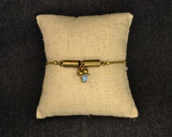 Bracelet labradorite and brass Drops