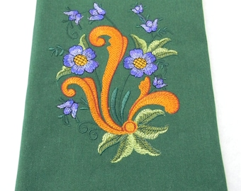 TWO Embroidered Cotton Dish Towels with Norwegian Rosemaling #857