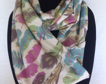 Infinity Scarf, Feather Print