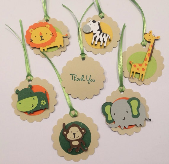 12 Zoo or Jungle Animal Themed Place cards food tents