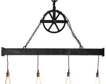 Handcrafted 4 light Steel Beam Chandelier with Aged Pulley