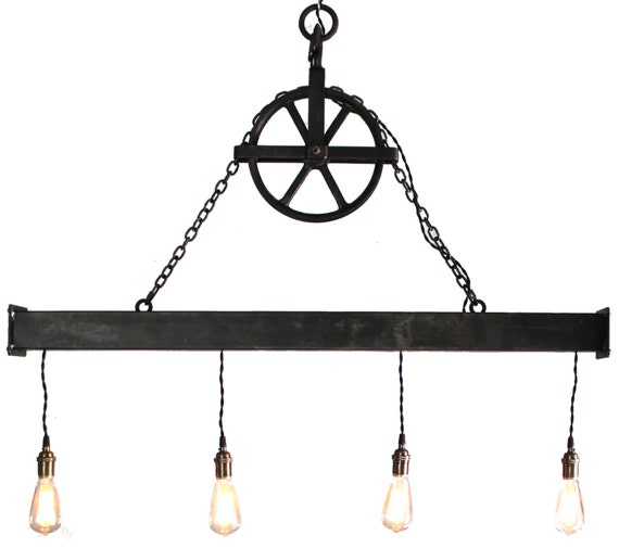Rustic Light Industrial Chandelier Rope Pulley By: Handcrafted 4 Light Steel Beam Chandelier With Aged Pulley