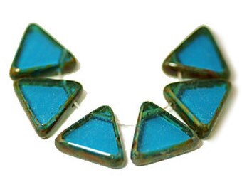Capri Blue Picasso Drop Triangle Table Cut Czech Glass Beads x 10