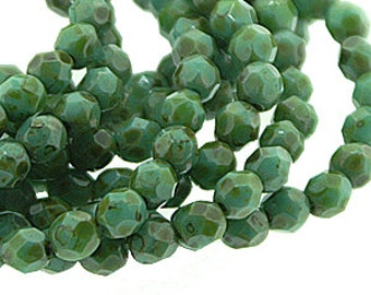 Opaque Turquoise Picasso 4mm Firepolish Czech Glass Beads x 50