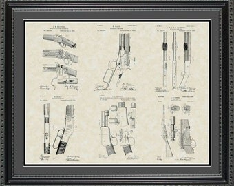 Winchester Firearms Patent Art Wall Hanging | Hunter Marksman Shooter Gift PWINC2024