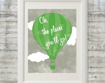 Dr. Seuss Nursery Wall Art - Oh The Places You'll Go 11x14 Print