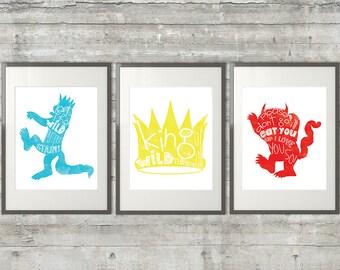 Where The Wild Things Are Nursery Art Printables - Set of 3 11x14 Printable Files