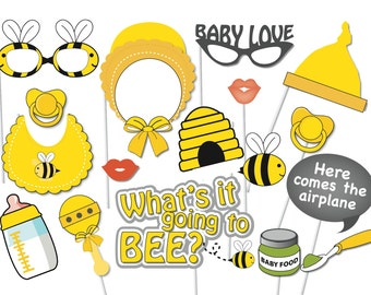 Bumble Bee Baby Shower Photo booth Party Props Set - 17 Piece PRINTABLE - What's it going to Bee? Baby shower, Gender neutral, Game