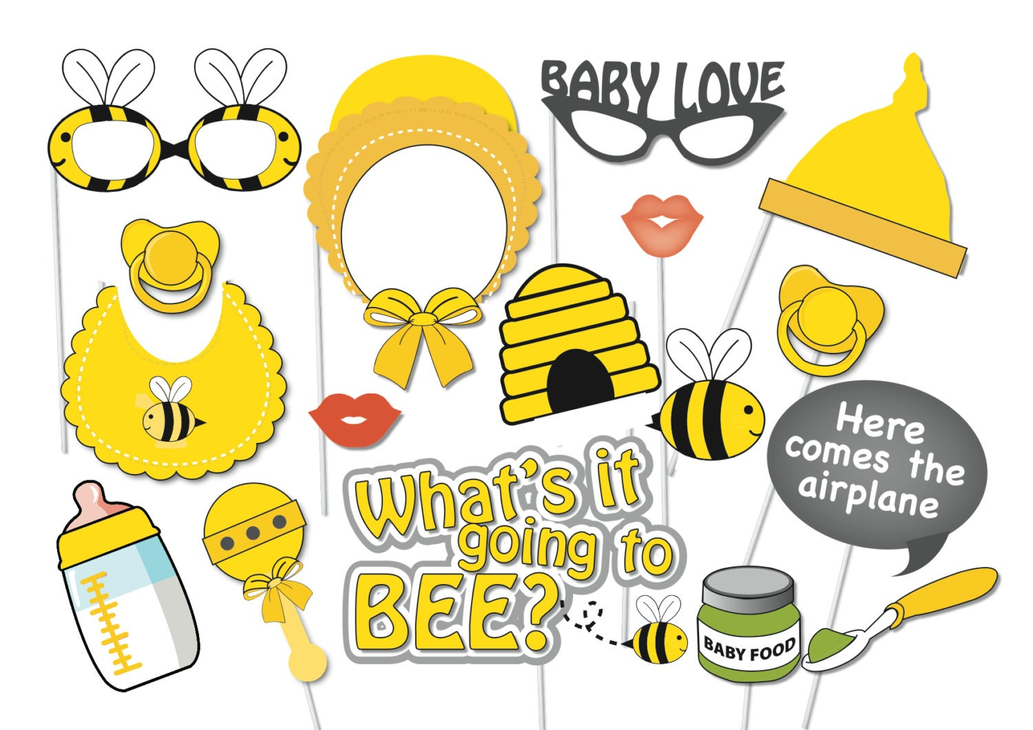 bumble bee baby shower photo booth party props set 17 piece