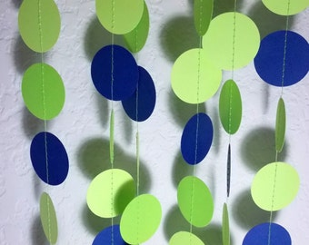 Paper Garland, Lime Green & Navy Circle Garland, Party Decoration, Birthday Party,  12' Circles