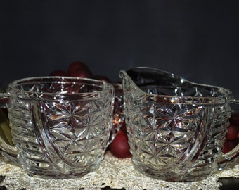 Indiana Glass Mint Clear Stars And Bars Creamer & Open Sugar Bowl Set