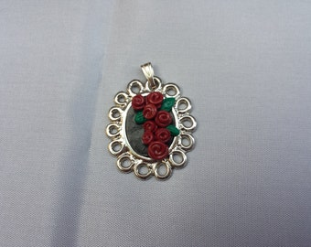 Roses polymer clay pendant