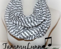Music Note Sheet Music Piano Notes Script Print Black and White Infinity Scarf Band Women's Accessories Tammy Lynns Creations