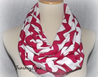 Hot Pink Chevron Infinity Scarf Jersey Knit Scarf  Women's Accessories