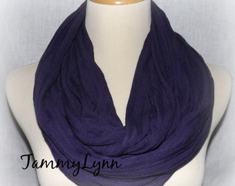 CLEARANCE Purple Eggplant Mini Ruffle Scarf Ready to Ship Stripe Cotton Jersey Knit Infinity Scarf Women's Accessories