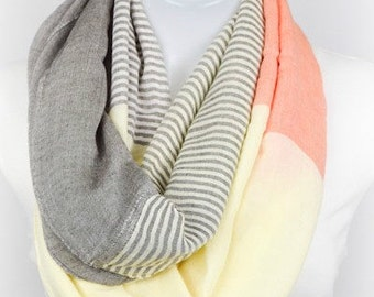 NEW! Gray Orange Yellow LONG Ready to Ship Colorblock Stripe Viscose Poly Scarf  Spring Summer BEACH Women's Accessories