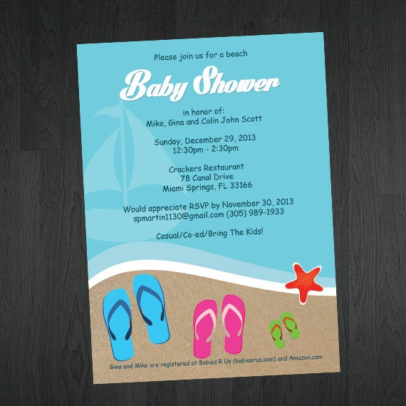 Beach Themed Baby Shower Invitation Beach By MemorableImprints