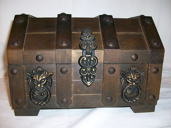 Vintage Gothic Lion Head Handled Wooden Treasure Chest With