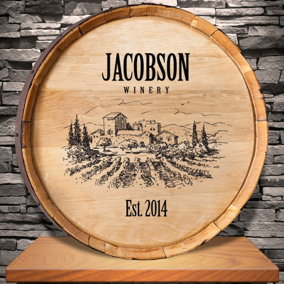 Wine barrel sign personalized vineyard wine barrel for Personalized home decor