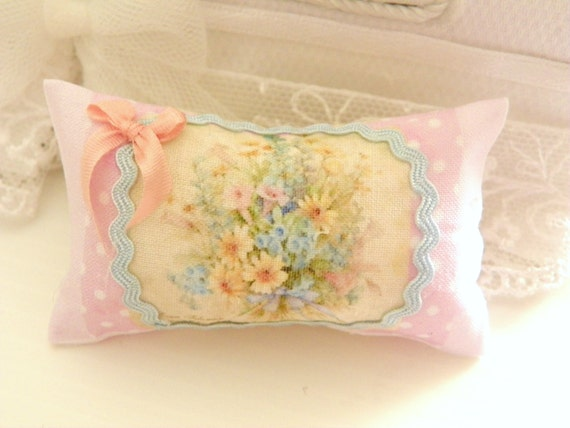 Shabby Chic Pillows On Etsy : dollhouse shabby chic miniatures pillow