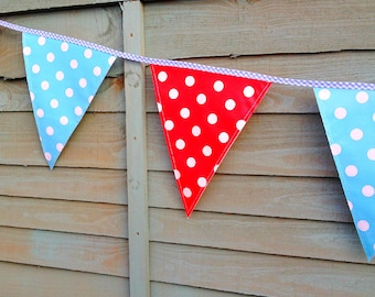 Oilcloth Blue & Red Polka Dot Outdoor Bunting - Outdoor Party - Outdoor Decor - Garden Decor