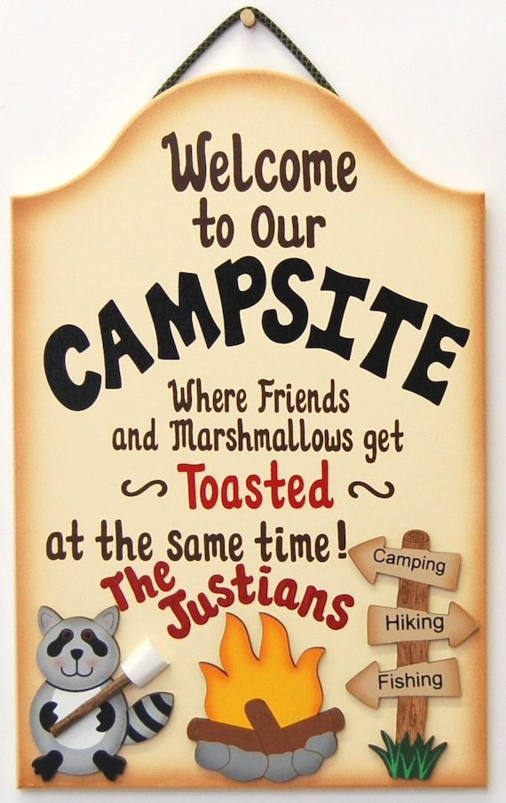 Personalized Funny Wood Camping Sign