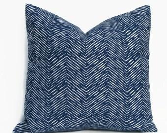 Blue Nautical Pillow, 16x16 Pillow Cover, Accent Pillow, Decorative Throw Pillow, Cushion Cover, Cameron Premier Navy